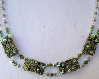 Green Irish Rose *Swarovski Crystal Necklace* (FREE SHIPPING- in U.S. only)