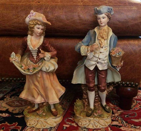 Large pair of KK Crown China Japan mid century man and woman hand painted bisque figurines