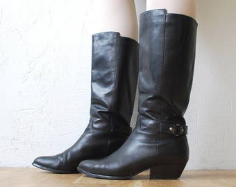80s 90s black leather tall boots. Western boots. low heel riding boots - eur 39.5 uk 6.5 us 8.5