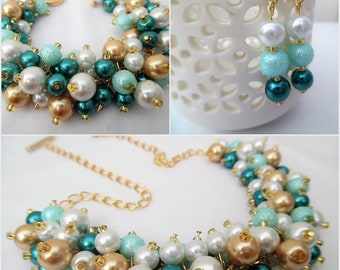 Teal Aqua Mint White and Gold, Teal Pearl Beaded Jewelry Set, Necklace Bracelet Earrings, Cluster Jewelry, Wedding Set, Bridesmaids Gifts