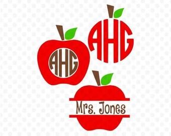Teacher Svg, Apple Svg, Apple Monogram Svg, Teacher Monogram Svg, School Svg, Split Svg, Split Apple Svg, Cricut Cut Files, Studio Cut Files