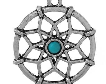 Dream charm Native American dream catcher with its inclusion in faux turquoise
