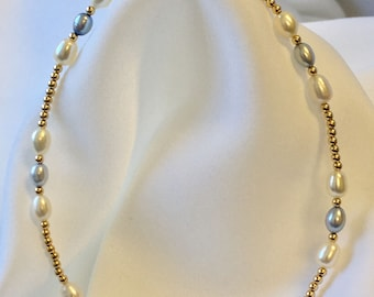 White & Blue Pearl Gold Bracelet/ Ankle Bracelet (2656) Plus Sizes too!