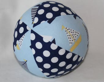 Blue and Yellow Sailboats Fabric Boutique Ball Rattle Toy