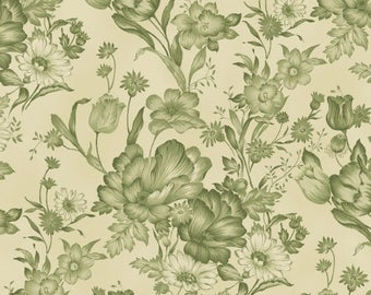 By The HALF YARD - Ophelia ca. 1895 by Nancy Gere for Windham, Pattern #40348-2 Mono Toile Green, Large Tonal Green Floral on Creamy White