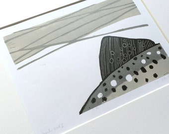 Winter Trout (II) :  3 colour linocut, trout & fly fishing, small edition print