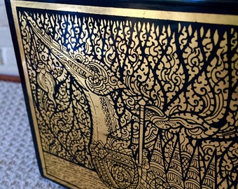 Intricately Painted Gilded Thai Black Lacquer Box with Ship - Thailand