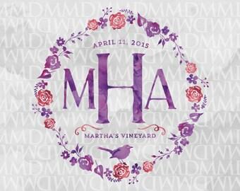 Floral Wreath Custom Watercolor Wedding Logo - Wedding Crest - Wedding Monogram - Floral Wedding