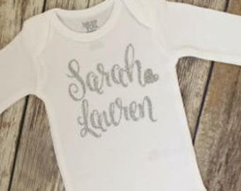 Choose Your Glitter Baby Girl First and Middle Name Bodysuit, Glitter Girl Name One, Baby Girl Name Shirt