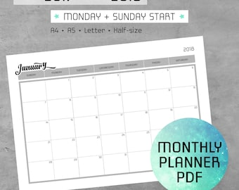 Monthly Planner Printable PDF Notes, 2017-2018 Calendar, Monday Sunday Start, Agenda Template, Log Pages, A4, A5, Letter, Half-size