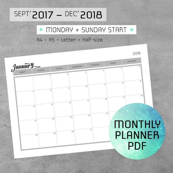Monatliche Kalender druckbare PDF-Notizen Buchstabe 2017-2018