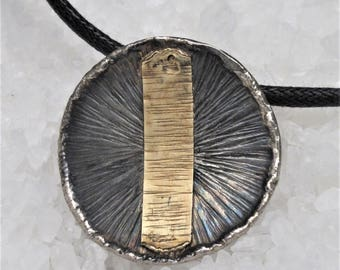 Men pendant chiselled, oxidized silver gold