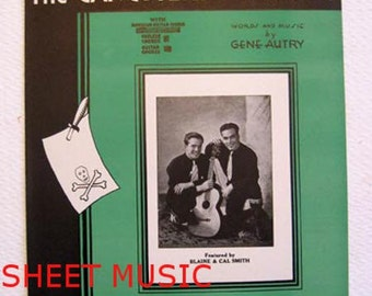 Sheet Music, Gene Autry Western, 'The Gangsters Warning', 1932, Man in Jail, Moral Tale