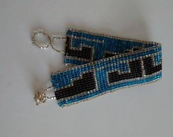 Vintage Beaded Bracelet, Black and Teal Beaded Bracelet