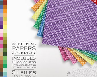 80% OFF SALE Digital Scrapbook 51 Piece Mod Lattice Paper Pack - 50 Colors & Overlay to DIY - Digital Scrapbook Paper Digital Paper Pack