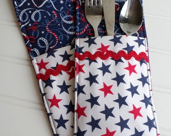 """Silverware Pockets / Set of 2 / Ready to ship / """"Stars and Streamers"""""""