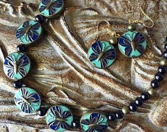 Cloisonne Butterfly Set Necklace Earrings Enamel with Glass Pearls