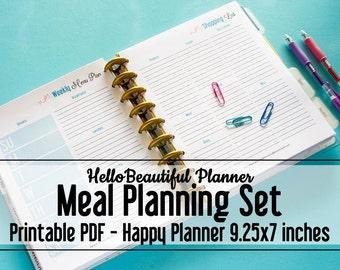 Menu Planner Printable | Happy Planner Classic | Meal Planner | Printable Planners | Printable Dinner Planner | Shopping List | Weekly Menu