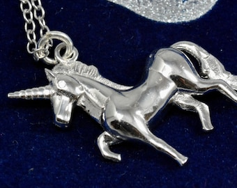 You Are Magical - Trotting Unicorn Pony Pendant Necklace in Sterling Silver - Polished Finish  16'' - 18'' O4
