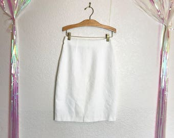 Vintage 1980s Milk White High Waisted Pencil Skirt with a Rose Button at the Back Hem