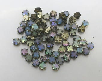 4 mm Vintage Opalescent Rose Montees - 12 pieces for 5.00 - Bin #17