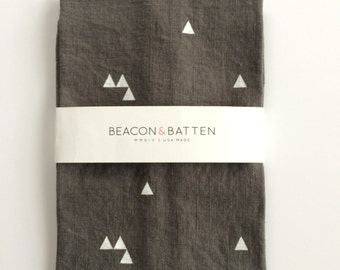 Triangle Towel : Charcoal Ground - White Print