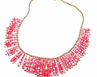 Propus necklace - gold and pink