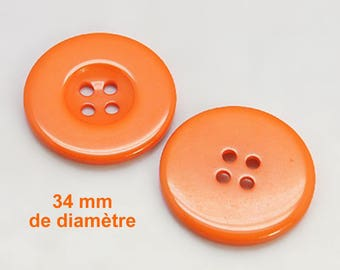 """1 large plain resin """"Orange"""" 34 mm round button not expensive €0,50"""