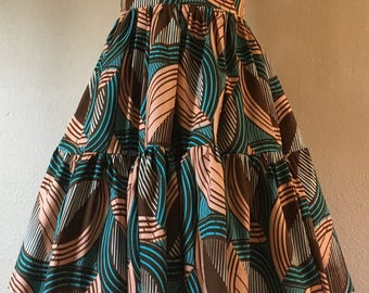 Beautiful African Wax Print High Waisted Skirt Fit and Flare Ruffle Tier Peach Turquoise Brown Print 100% Cotton