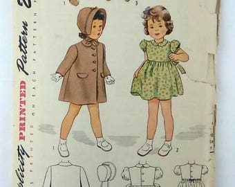 Vintage Simplicity Sewing Pattern 2200 Girls Size 3 Coat, Hat, & Dress 1940s