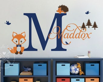 Woodland wall graphic - Personalized FOX decal - Baby nursery wall decal -  Woodland wall graphic - Baby fox decal - Woodland nursery decal