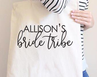 Bride Tribe Tote, Bridesmaid Tote, Personalized Bridesmaid tote, Custom bridesmaid tote, Wedding party, wedding party gift, Bridesmaid gift