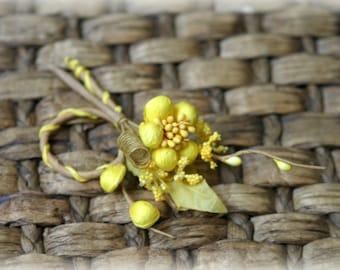 Rustic Yellow Shabby Chic Flower Embellishment FL-079