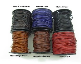 0.5mm LEATHER CORD 10 Meter Spool, Natural Dyes, Lead Free, Many Colors, Ready to Ship!