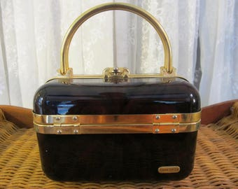Vintage 70's Italian lucite faux tortoise shell  trunk box handbag with gold metal trim