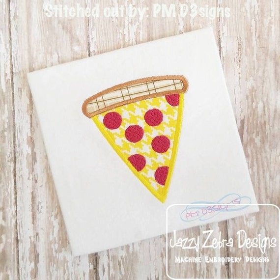 Pizza Applique embroidery Design - pizza appliqué design - pizza party appliqué design - food appliqué design - pepperoni pizza appliqué