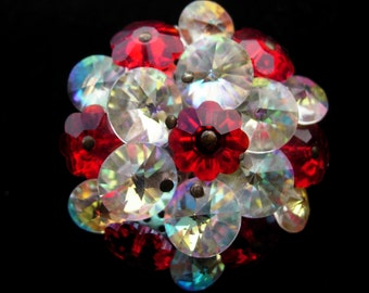 Vintage Pin or Brooch, Red and Clear Aurora Borealis Crystal Disks