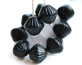 Black bicones, czech Glass jet black beads, large bicone beads, pressed - 11mm - 10pc - 1424