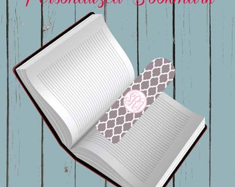 Personalized Bookmark-Gray Lattice Print Metal Bookmark. Shower gift
