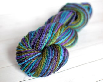 Handspun Yarn - worsted weight, 3 ply, Rambouillet, wool, 222 yards, 4 ounces
