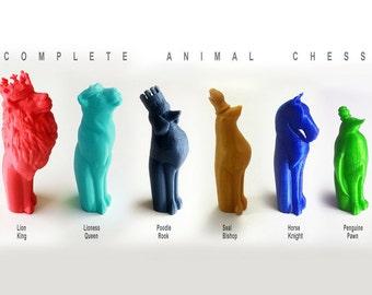 Animal Chess Set, Full Chess Set, Animal Themed