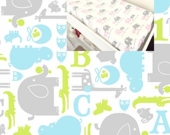 Flannel Elephants Changing Pad Contoured Animals Changed Pad Cover 100% Flannel Cotton Elephants Nursery Changing Pad Covering