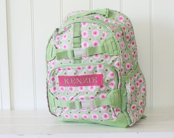 Small Size Pottery Barn Backpack With Monogram -- Green/Pink Mod