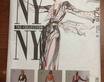 Uncut! 1991 McCall's NY NY Collection Sewing Pattern 5716 Wrap Jacket And Dress in 2 lengths, size 6.