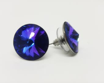 Blue Purple Heliotrope stud earrings - 16mm large rivoli rhinestone round crystal ear studs with stainless steel post