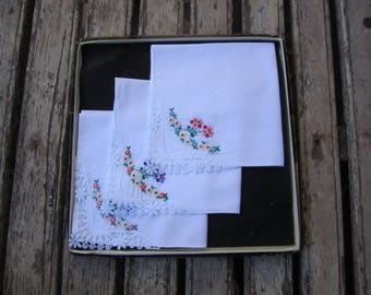 3 Vintage Embroidered Handkerchief- Violets-Floral-Bride-Mother of the Bride - New in Box-Something Old - Vintage Handkerchief - Rose Hankie
