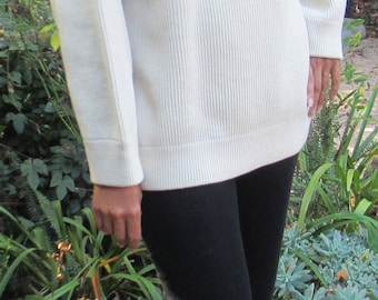 1980s Ivory Wool Slouchy Ribbed Sweater Minimalist
