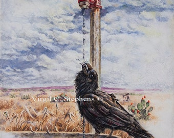 Raven art, Pasture Perrier, print of a Pine Raven sitting on a stock tank, black bird, crows, birds, North Amer. Wildlife, Pine Raven art
