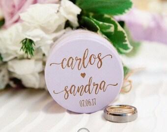 Ring Bear Box, Wooden Ring Box, Engagement Ring Box, Wedding Gift, Ring Bearer Box, Engraved Wooden Box, Custom Names Ring Box with Burlap