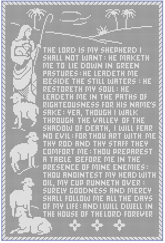The 23rd Psalm Thread Filet Crochet Panel Pattern Pdf